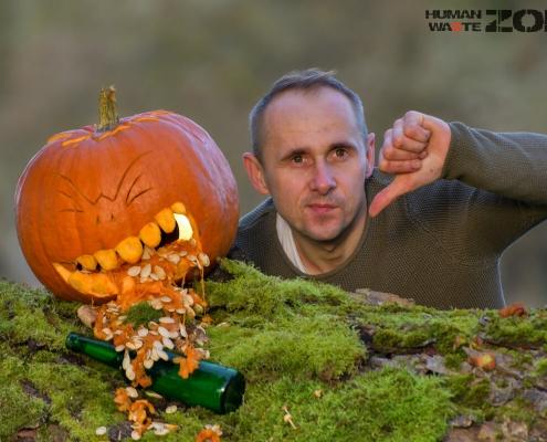 HALLOWEENowa akcja w Rezerwacie Świdwie dynia, śmieci, zbieranie śmieci, human waste zone, Daniel Krępa